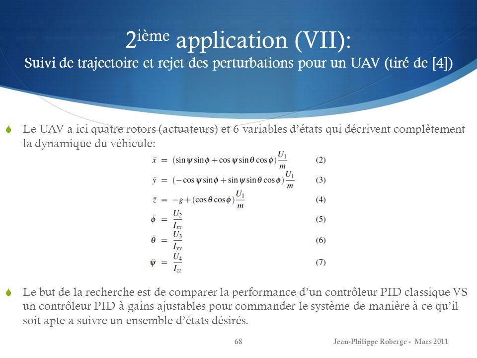 2ième application (VII): Suivi de trajectoire et rejet des perturbations pour un UAV (tiré de [4])